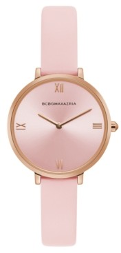 BCBGMAXAZRIA Ladies Pink Strap Watch with Rose Gold Dial, 34mm