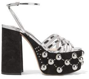 Miu Miu Studded Suede And Metallic Leather Platform Sandals