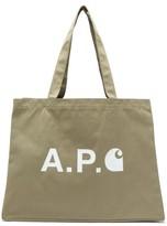 A.P.C. X Carhartt Large Logo-print Canvas Tote Bag - Mens - Khaki
