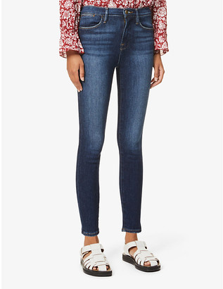 Frame Ladies Blue Cotton Le High Straight High-Rise Jeans, Size: 24
