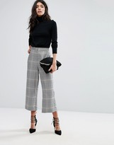 MANGO Check Print Cropped Pants