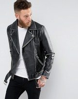 Asos Leather Vintage Look Belted Biker Jacket In Black