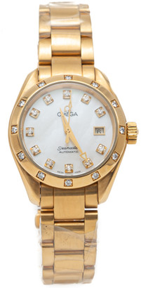 Omega White Mother Of Pearl Seamaster Aquaterra Yellow Gold Diamond Women'S Watch 29MM