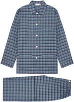 Derek Rose Ranga Charcoal Grey and Blue Check Pyjama Set