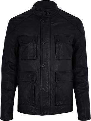 Superdry Mens River Island Black leather pocket jacket
