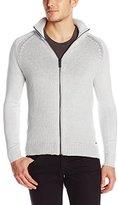 Calvin Klein Jeans Men's Full Zip Mixed Guage Sweater