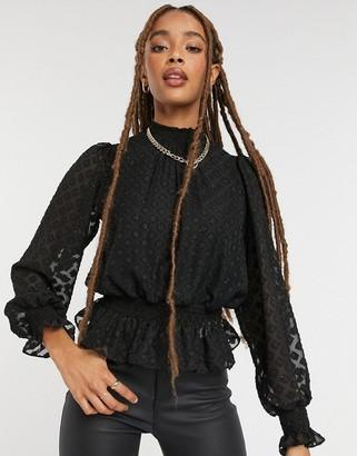 New Look glitter diamond shirred blouse in black