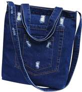 Elfjoy Women's Denim Casual Canvas Tote Shoulder Shopping Bag Handbag Pockets