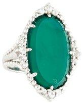 Judith Ripka Chalcedony & Sapphire Cocktail Ring