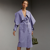 Burberry Cotton Chambray Sculptural Wrap Dress , Size: 08, Blue