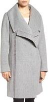 Badgley Mischka Women's 'Nikki' Leather Trim Oversize Coat