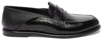 Loewe Crocodile Effect Collapsible Heel Leather Loafers - Mens - Black