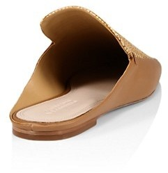 Mercedes Castillo Madelyn Square-Toe Leather & Raffia Loafer Mules