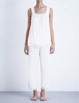 The White Company Lace-trim jersey pyjama set