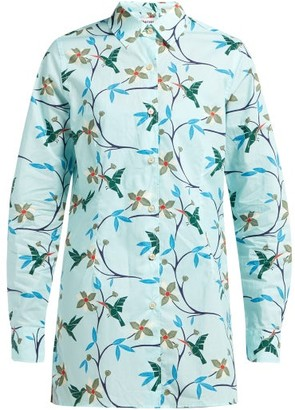 Thorsun Georgie Hummingbird Print Cotton Poplin Shirt - Womens - Blue Multi