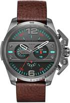 Diesel Machinus Gunmetal Case Brown Leather Strap Men's Watch