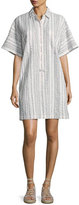 Derek Lam 10 Crosby Striped Half-Sleeve Shirtdress, White