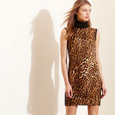 Ralph Lauren Ocelot-Front Turtleneck Dress