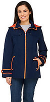 Susan Graver Zip Front Jacket with Hood and Contrast Trim