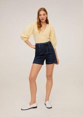 MANGO Belt cotton-blend short dark navy - XS - Women
