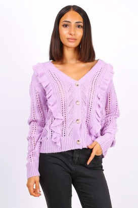 Lilura London Button Front Ruffle Knit Cardigan In Purple
