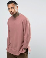 Asos Oversized Longline T-Shirt In Waffle Fabric With 3/4 Sleeve