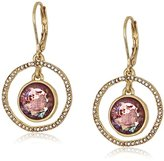 "lonna & lilly Gold Standard"" Worn Gold-Tone and Burgundy Orbital Drop Earrings"
