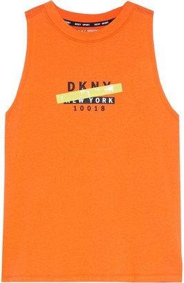 DKNY Printed Stretch-cotton And Modal-blend Jersey Tank