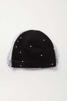 Eugenia Kim Lucinda Ribbed-knit And Faux Pearl-embellished Mesh Beanie - Black