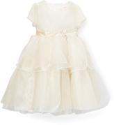 Nannette Gold Bow-Waist Ruffle Dress - Girls
