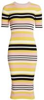Frame Baja Stripe Cotton & Cashmere Rib-Knit Dress