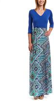 Glam Blue & Turquoise Geometric Maxi Dress