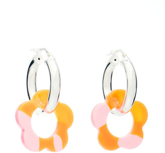 Pina Jewels Acrylic Daisy and Sterling Silver Hoop Earrings