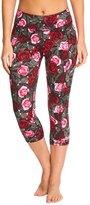 Betsey Johnson Romantic Rose Printed Yoga Capris 8148945
