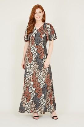 Yumi Black Ditsy Floral Maxi Dress