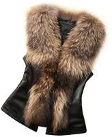 Malltop Womens Faux Fur Collar Vest Jacket Sleeveless Winter Warm Waistcoat