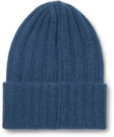 The Elder Statesman Short Bunny Echo Ribbed Cashmere Beanie - Blue