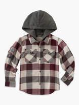 Lucky Brand Long Sleeve Plaid Shirt With Jersey Hood