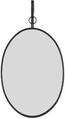 3R Studio Oval Wall Mirror with Distressed Metal Frame Hanging Bracket - Set of 2