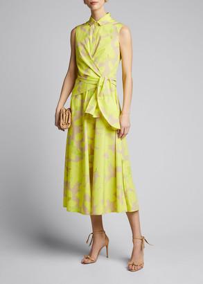 Akris Punto Magnolia-Print Poplin Wrap Dress