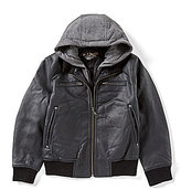 First Wave Big Boys 8-20 Hooded Pleather Jacket
