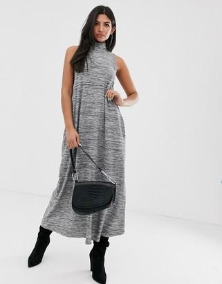 Asos Design DESIGN high neck sleeveless maxi dress in marl-Black