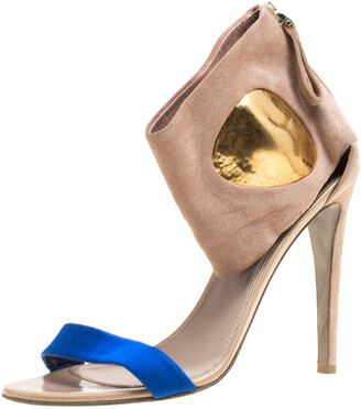 Sergio Rossi Beige Suede And Blue Satin Ankle Cuff Open Toe Sandals Size 39.5