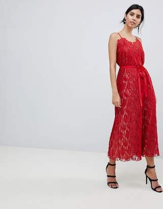 Little Mistress All Over Lace Midaxi Cami Dress-Red