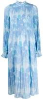 Ganni georgette pleated maxi dress