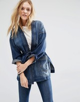Current/Elliott Denim Kimono Jacket With Tie Waist