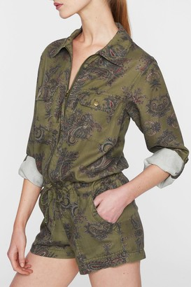 Pam And Gela Paisley Zip Front Utility Romper