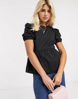 New Look poplin babydoll puff sleeve top in black