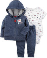 Carter's 3-Pc. Cotton Super Cute Hoodie, Bodysuit & Pants Set, Baby Boys