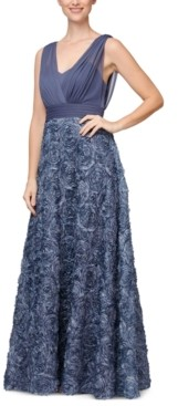 Alex Evenings 3D-Floral Surplice Gown